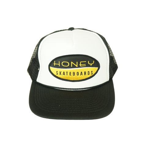 Honey Brand Logo Patch Trucker Hat- Black/White