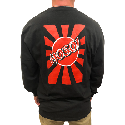 Hosoi Rising Sun Men's Long Sleeve T-Shirt- Blk/Red/Wht