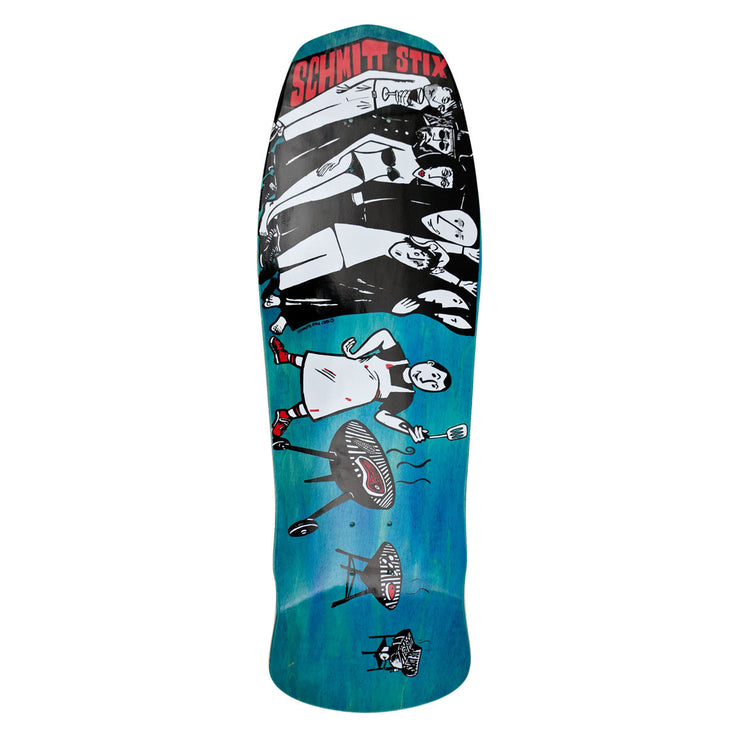 "Schmitt Stix Joe Lopes BBQ Modern Concave Deck- 10.125""x31""- Blue/White"