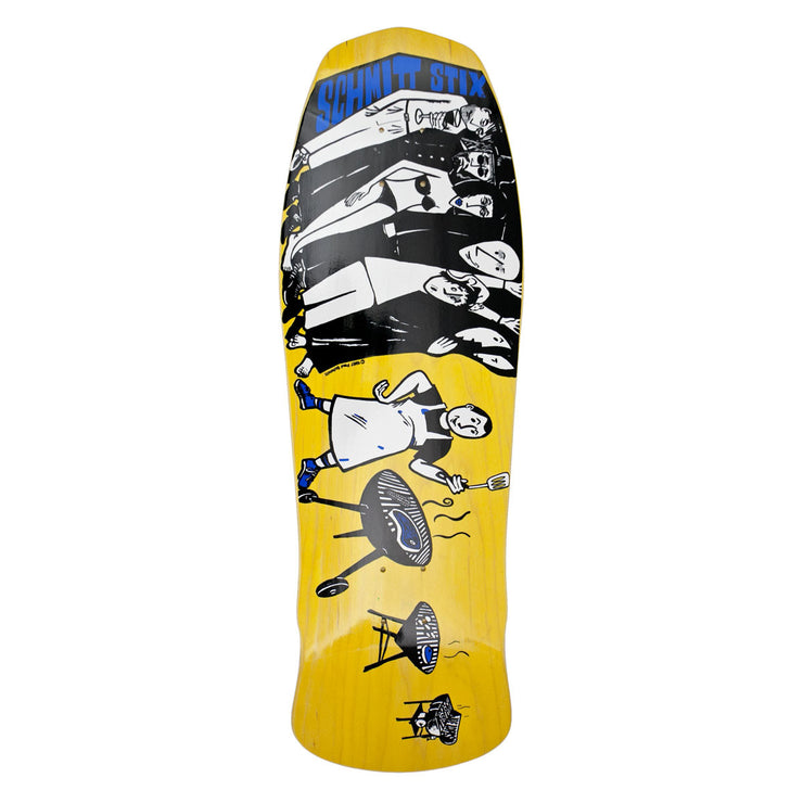 "Schmitt Stix Joe Lopes BBQ Modern Concave Deck- 10.125""x31""- Yellow/White"