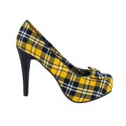 Draven Peggy Yellow Plaid Pump Heels Women's Shoes