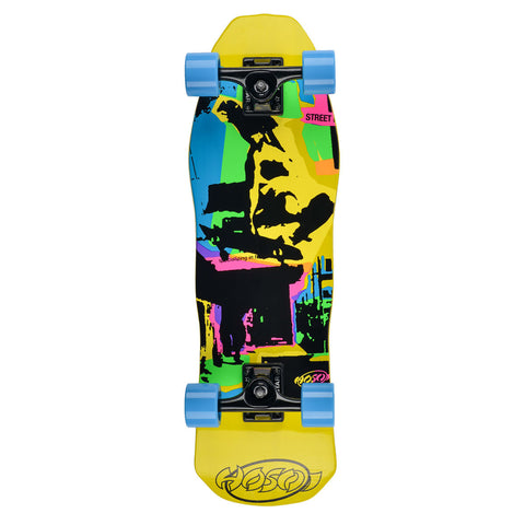 "Hosoi Skateboards Pop Art Mini Cruiser Complete– 8.5"" x 28""- Yellow"