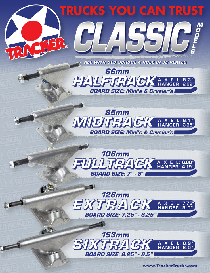 "TRACKER TRUCKS -  CLASSIC HALFTRACK 66MM (5.3"" Axle)"