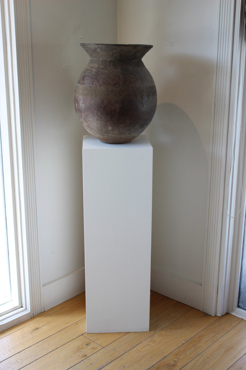 ANTIQUE VESSEL ON WHITE MUSEUM PLINTH