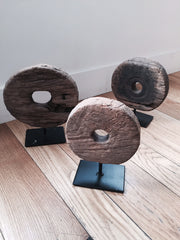 ANTIQUE MOUNTED TEAK WHEELS