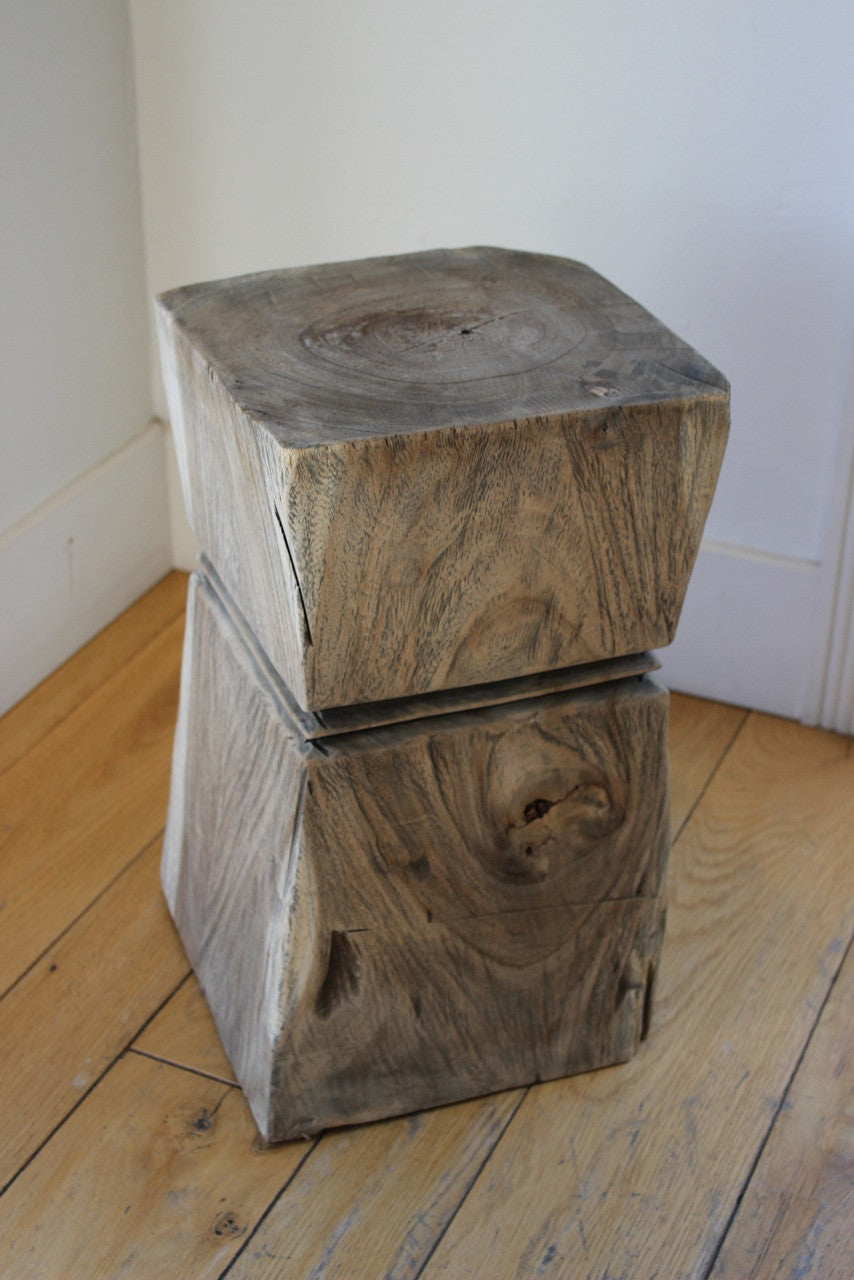 ANTIQUED TEAK SIDE TABLE