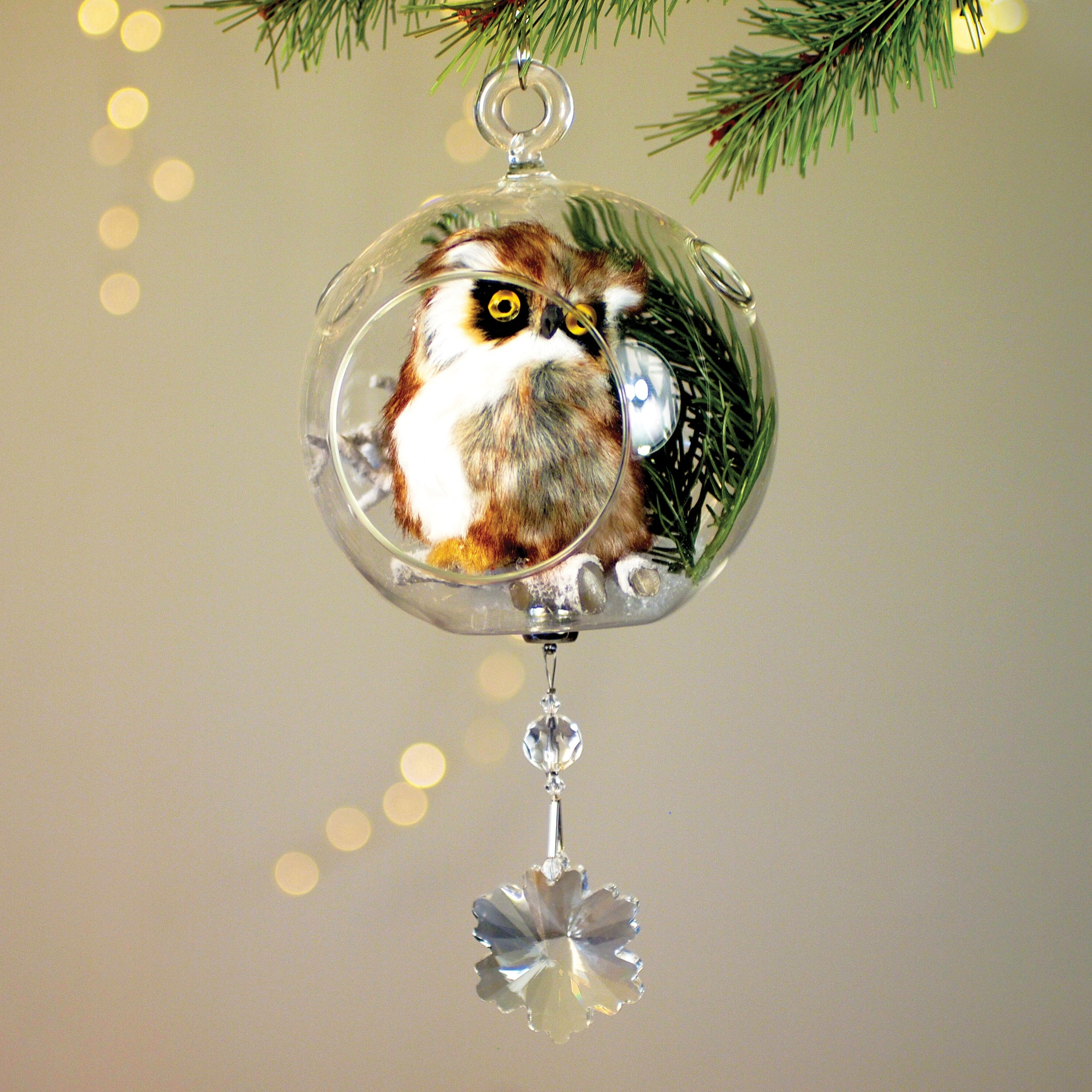 "Brown Owl in Glass 3"" with Magnetic Snowflake Crystal 3"""