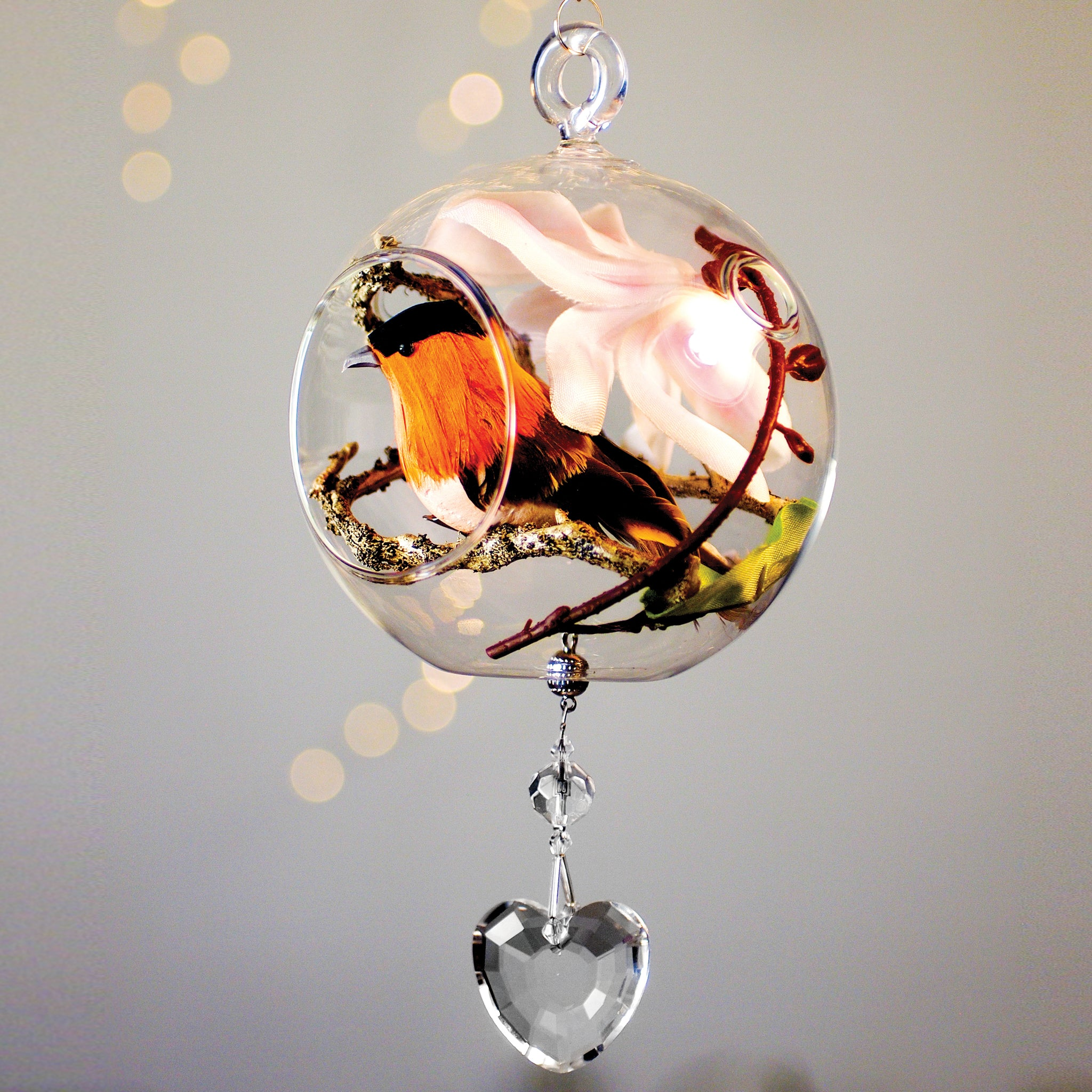 "Terrarium:  Orange Bird in Glass Ornament with Magnetic Heart Crystal 4"" x 8"""
