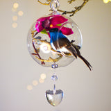"Blue Bird Bird in Glass 4"" with Magnetic Heart Crystal 3"""