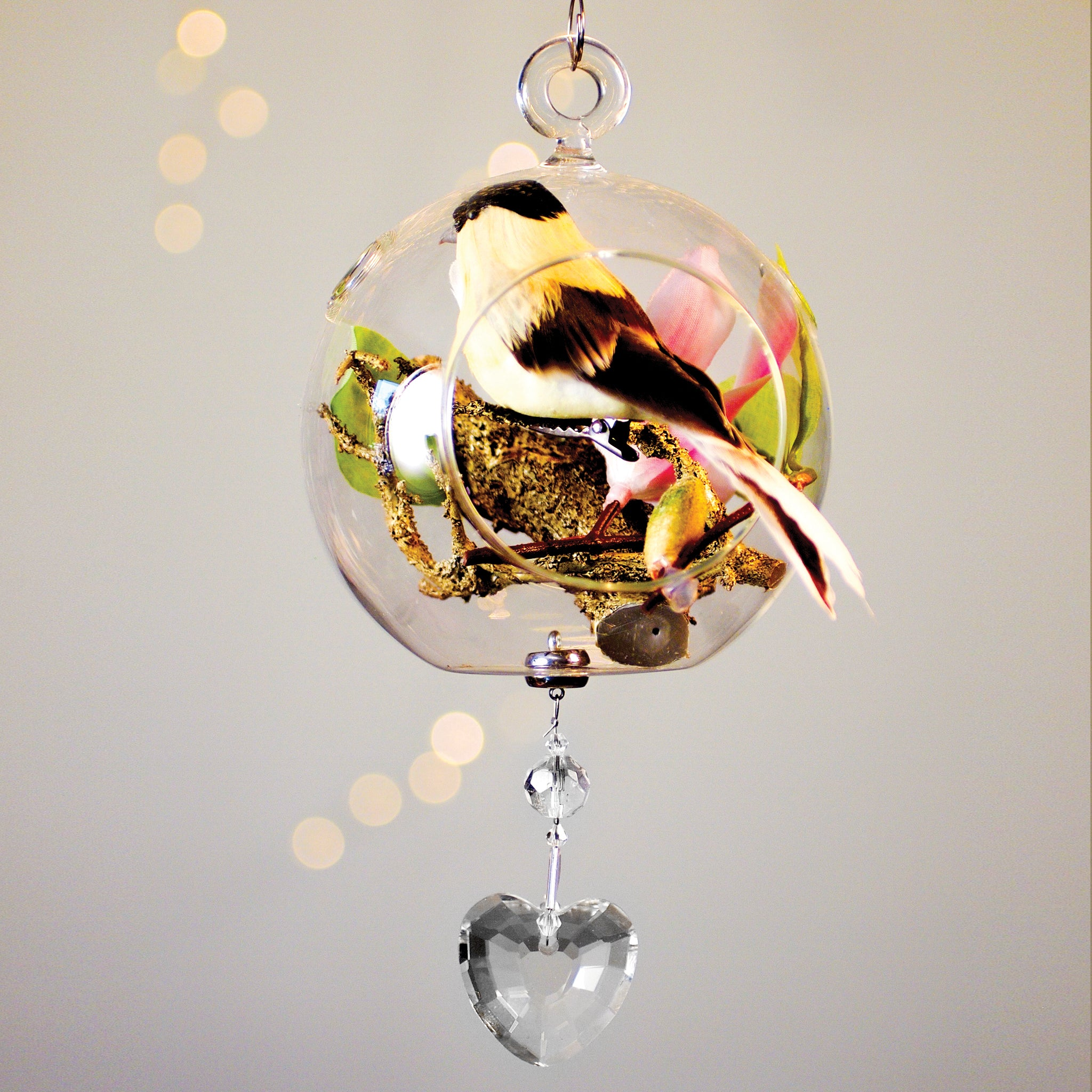 "Yellow Bird Bird in Glass 4"" with Magnetic Heart Crystal 3"""