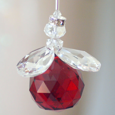 Crystal Figurine:  Chubby Angel Red