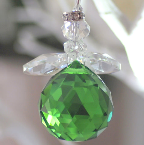 Crystal Figurine:  Chubby Angel Green
