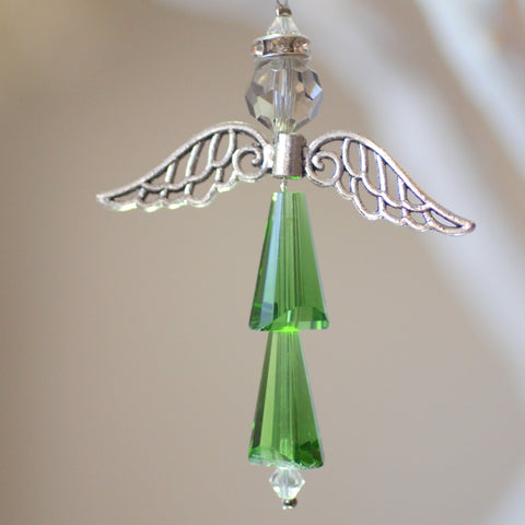 Crystal Figurine:  Skinny Angel Green