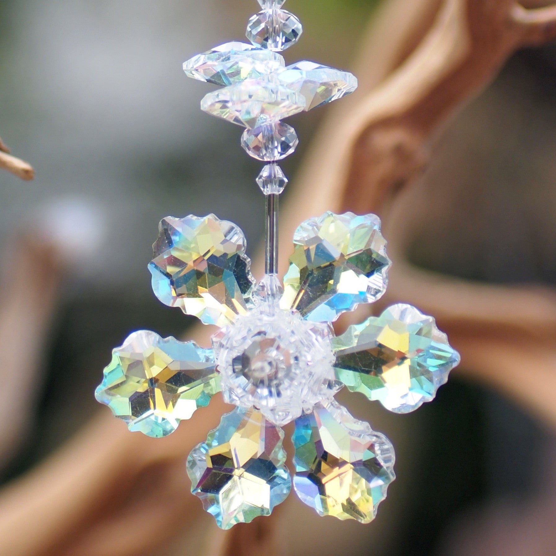 Hanging Crystal-  Iridescent Flower