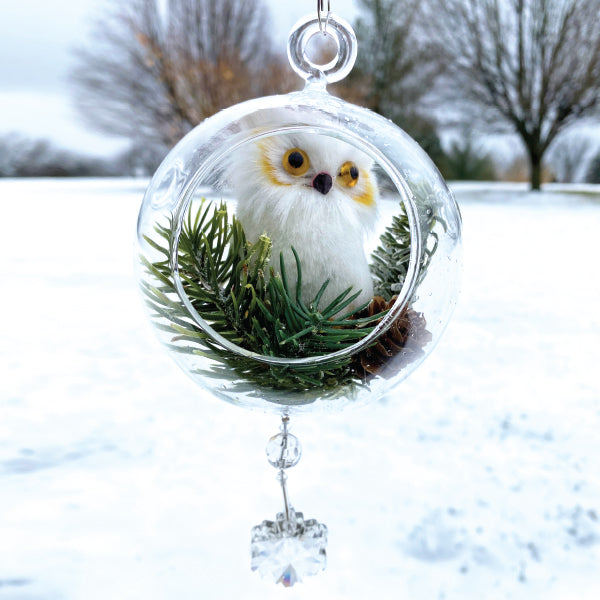 "Terrarium:  White Owl in Glass with Magnetic Snowflake Crystal 4""x8"""