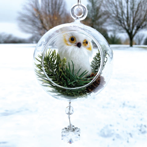 Terrarium:   White Owl in Glass with Magnetic Crystal 3
