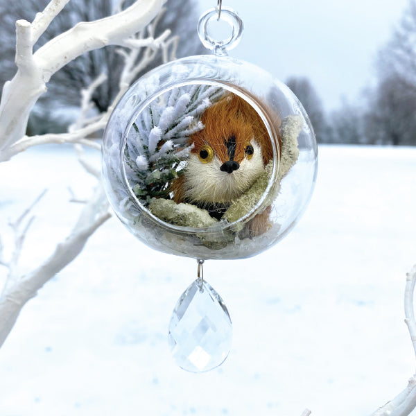 "Terrarium:   Squirrel in Glass with Magnetic Crystal 3"" x 7"""