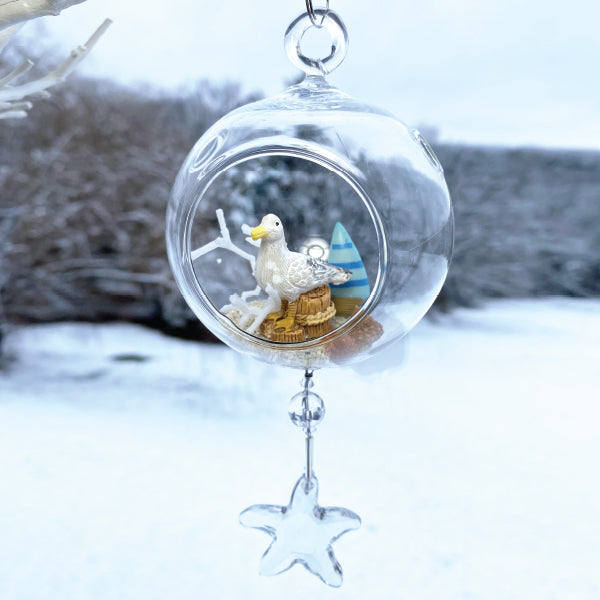 "Terrarium: Seagull in Glass Ornament with Magnetic Crystal 3""x7"""