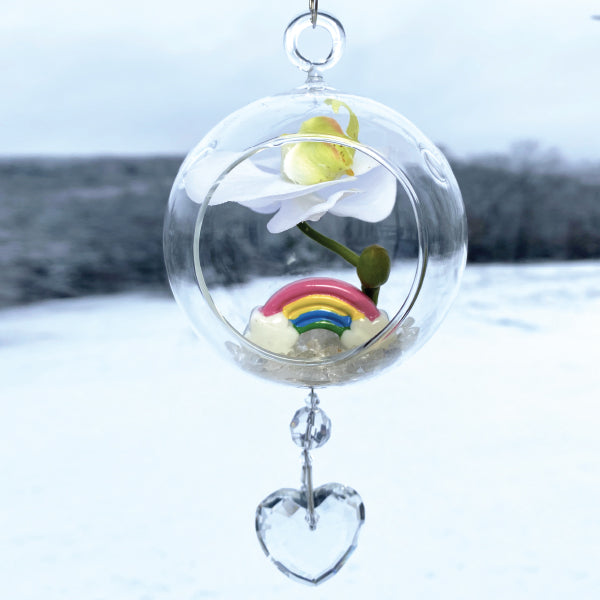 "Terrarium: Rainbow in Glass with Magnetic Crystal 3""x7"""