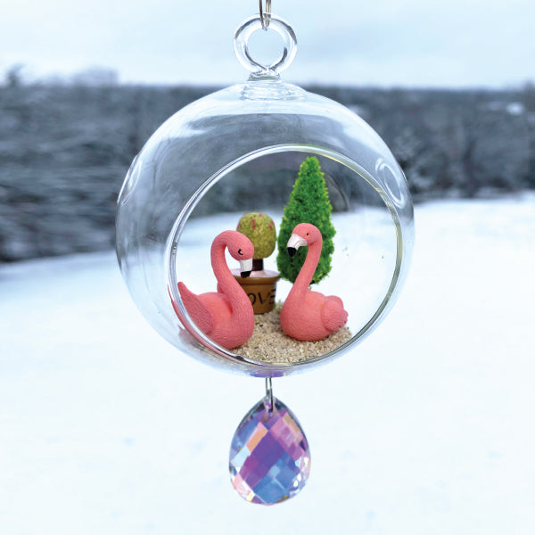 "Terrarium: Flamingo Love in Glass with Magnetic Crystal 3""x7"""