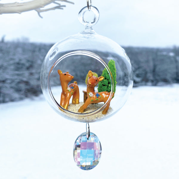 "Terrarium: Reindeer Love in Glass with Magnetic Crystal 3""x7"""