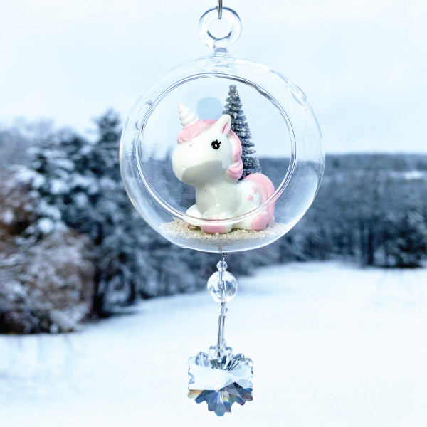 "Terrarium: Baby Unicorn in Glass with Magnetic Crystal 3""x7"""