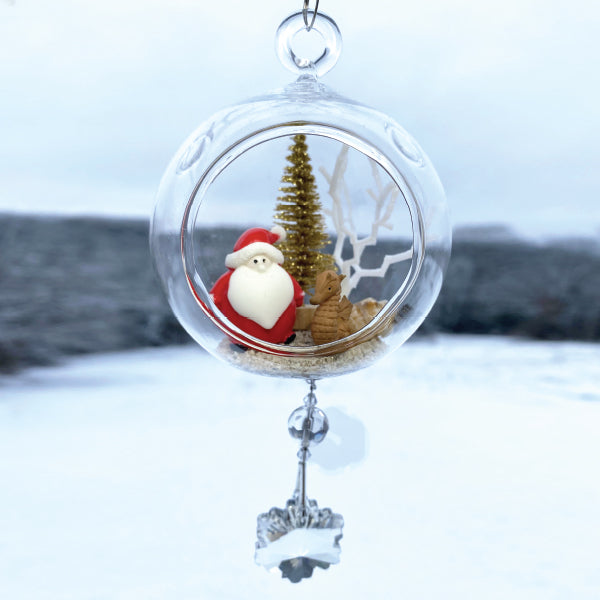 "Terrarium: Santa with Seahorse in Glass Ornament with Magnetic Crystal 3""x7"""