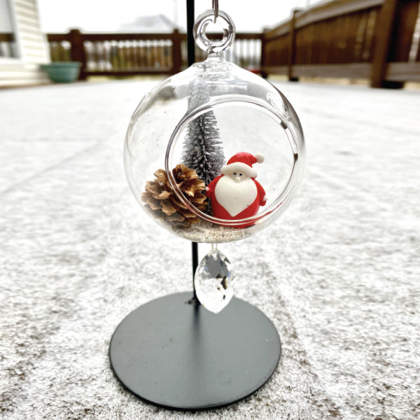 "Terrarium:   Santa & Pinecone in Glass Ornament with Magnetic Crystal 3"" x 7"""