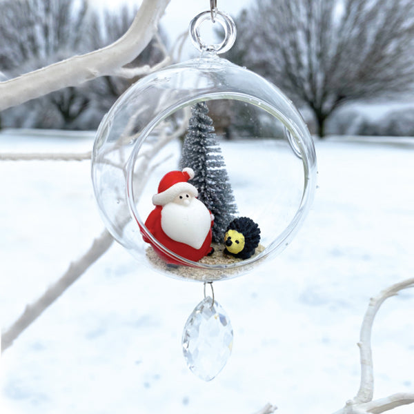 "Terrarium: Santa with Hedge Hog in Glass with Magnetic Crystal 3""x7"""