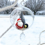 "Terrarium: Santa with Hedge Hog in Glass Ornament with Magnetic Crystal 3""x7"""