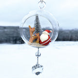 "Terrarium: Santa with Reindeer in Glass Ornament with Magnetic Crystal 3""x7"""