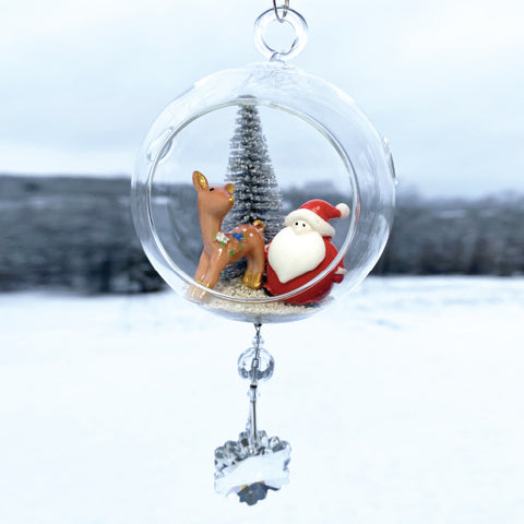 Terrarium: Santa with Reindeer in Glass with Magnetic Crystal 3