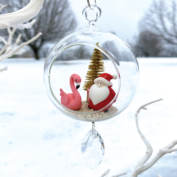 "Terrarium: Santa with Flamingo in Glass Ornament with Magnetic Crystal 3""x7"""
