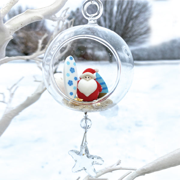 "Terrarium: Santa on the Beach in Glass with Magnetic Crystal 3""x7"""