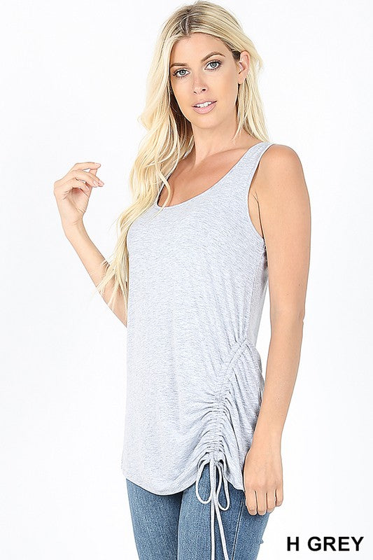 Ruched Tie Top- Color Heather Gray