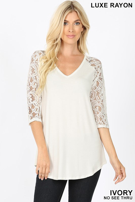 Lace Sleeve Top Ivory