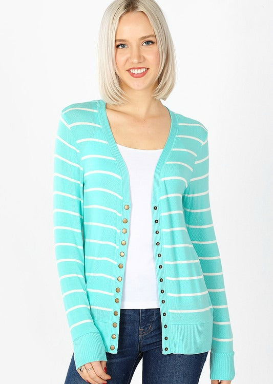 Mint Stripe Snap Cardigan