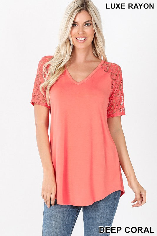 Lace Short Sleeve Top Coral