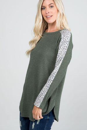 Olive Leopard Trim Sweater Top