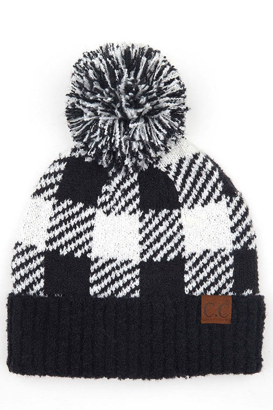 C.C Beanie Hat - White & Black Buffalo Plaid