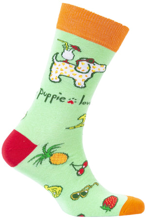 PUPPIE LOVE - ADULT CREW SOCK, TROPICAL PUP  (Pre-Order 2 Weeks)