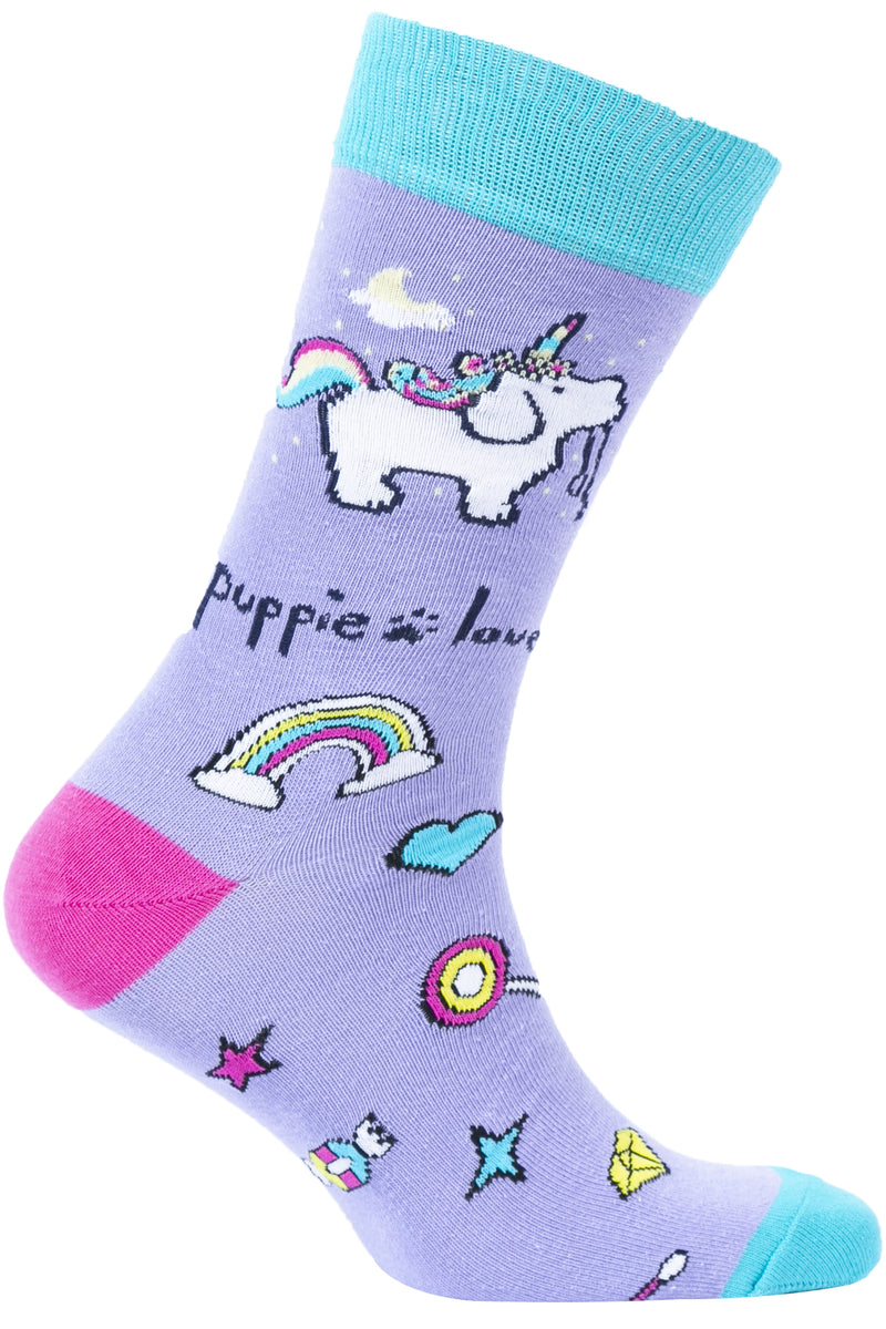 PUPPIE LOVE - ADULT CREW SOCK, UNICORN PUP (Pre-Order 2 Weeks)