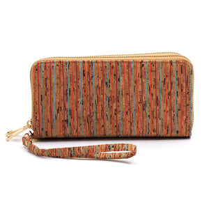 Cork Thin Multi Striped Double Zippered Wallet/Wristlet