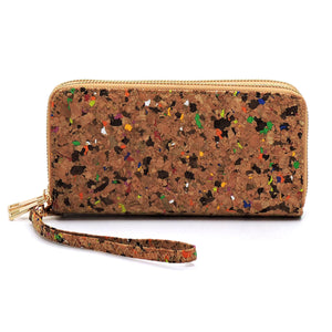Cork Confetti Double Zippered Wallet/Wristlet