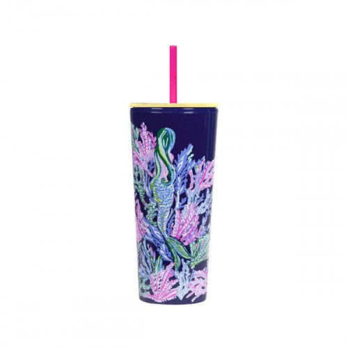 Lilly Pulitzer Tumbler With Straw- Bringing Mermaid Back