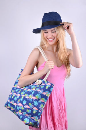 Navy Flamingo Beach Bag