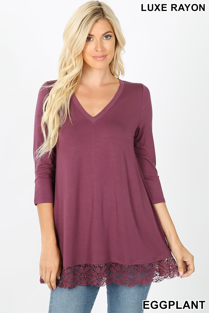 Eggplant Lace Trim Tunic Top