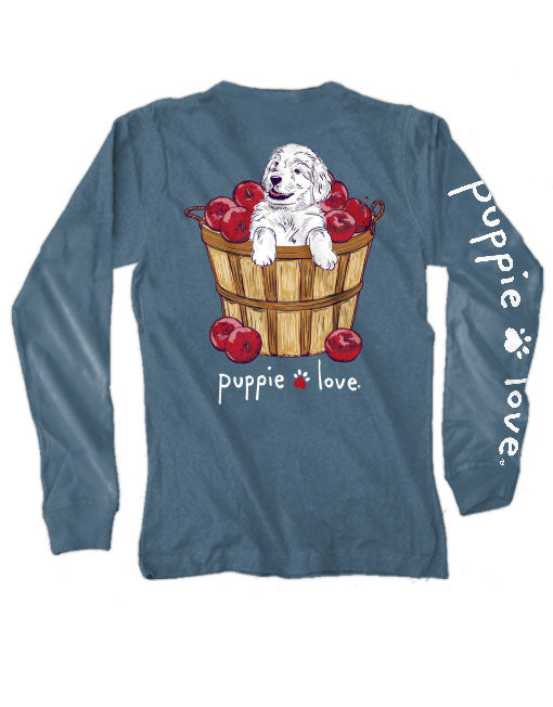 Apple Picking Pup Long Sleeve Tee By Puppie Love (Pre-Order 2-3 Weeks)