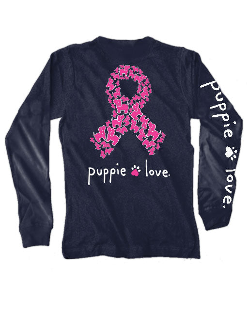 Puppie Ribbon Pup Long Sleeve Tee By Puppie Love (Pre-Order 2-3 Weeks)- Supports The Pink Fund