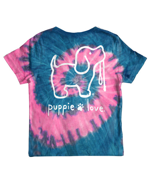 Youth Bubble Gum Tie Dye Pup Short Sleeve By Puppie Love (Pre-Order 2-3 Weeks)